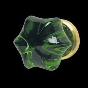 Cabinet Knobs, Forest Green Glass Hex Cabinet Knob with