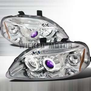 Civic LED Halo Projector Headlights   Chrome Blue Lens Automotive